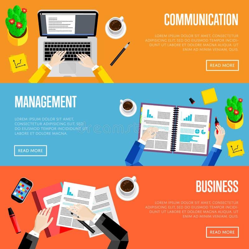 För kontorsworkspace för bästa sikt mallar för website royaltyfri illustrationer