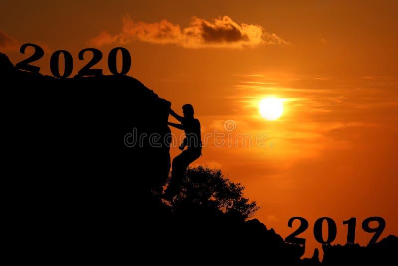 För konturbakgrund för nytt år begrepp 2020 royaltyfri bild