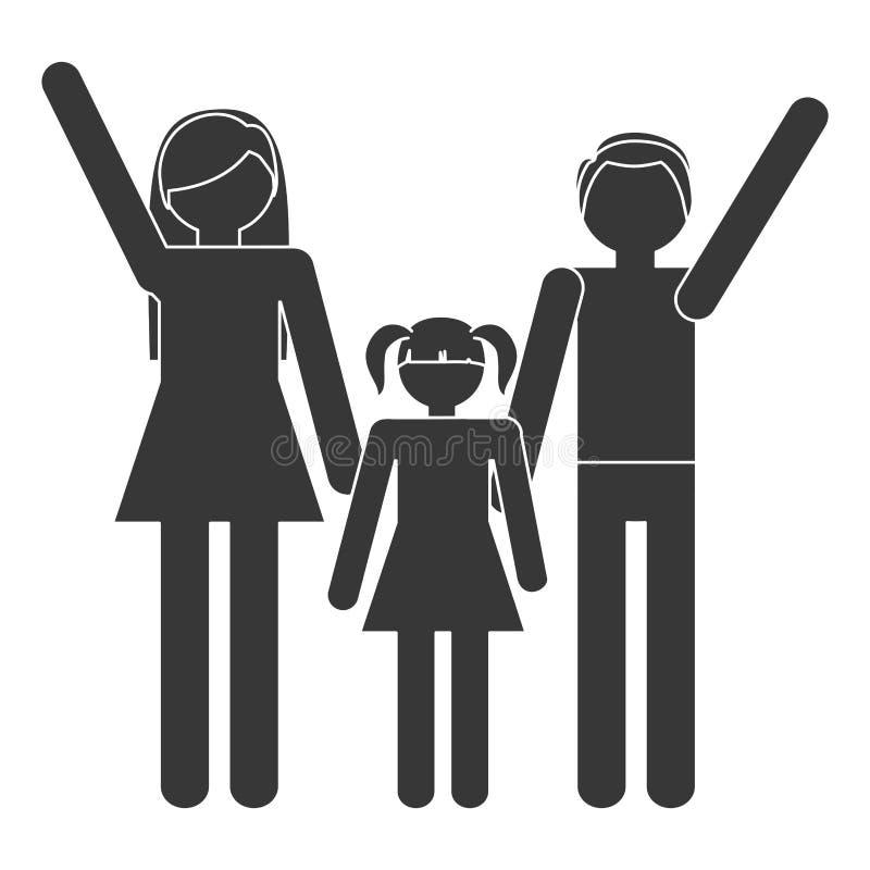för konturfamiljmoder för fader för dotter traditionella medlemmar tillsammans vektor illustrationer