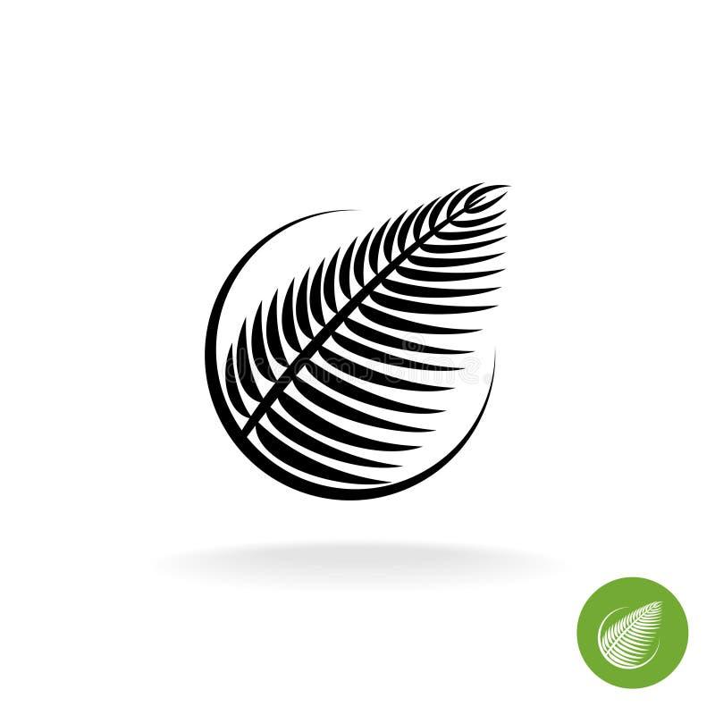 För konturlogo för palmblad svart symbol i en runda vektor illustrationer