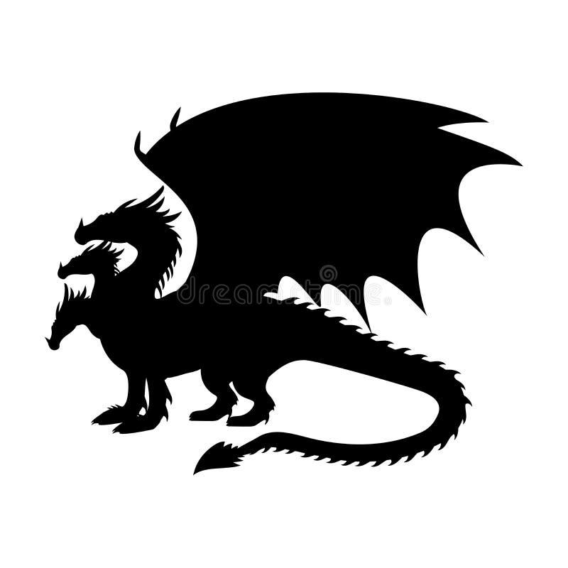 För kontursymbol för drake fantastisk fantasi för mytologi stock illustrationer