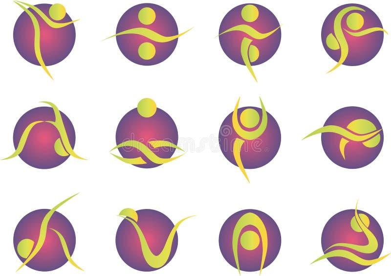 För kontursymboler för yoga stil stiliserad färgad uppsättning royaltyfri illustrationer