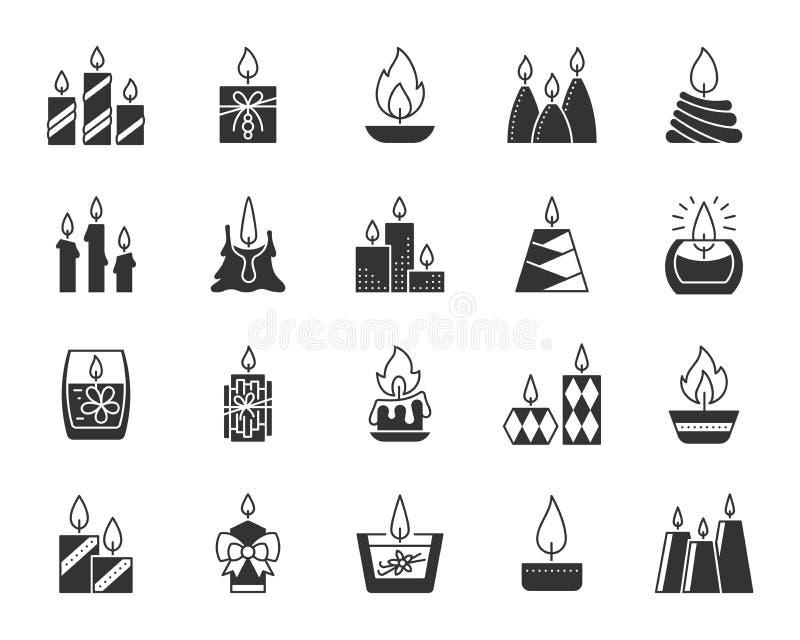 För kontursymboler för stearinljus svart uppsättning för vektor stock illustrationer