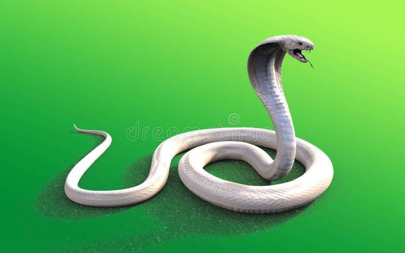 för konungkobra för albino 3d orm royaltyfri illustrationer