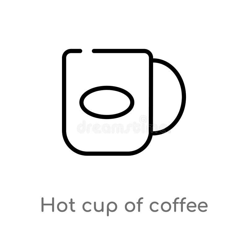 för kopp kaffevektor för översikt varm symbol r redigerbart vektor illustrationer