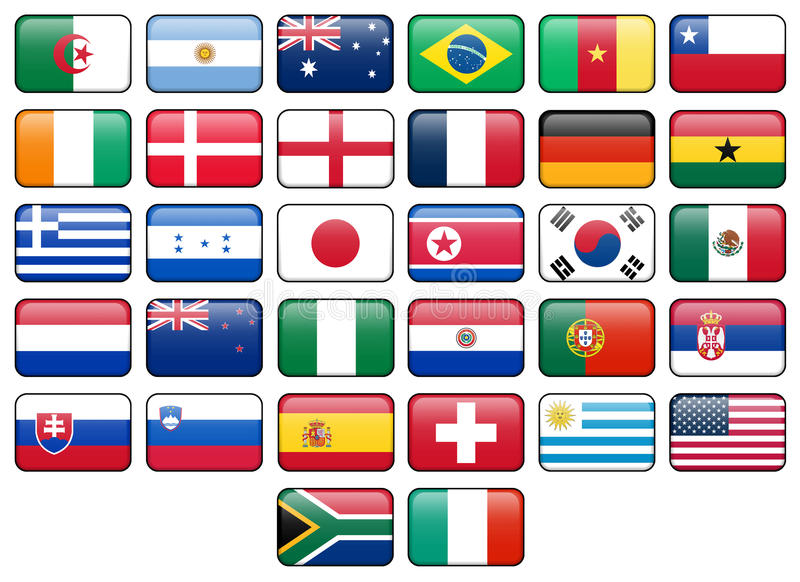 för koppflagga för 2010 knappar värld stock illustrationer