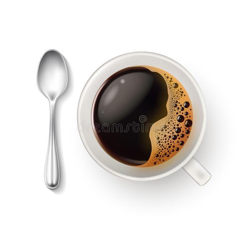 För koppkaffe för vektor realistisk closeup för bästa sikt för sked stock illustrationer