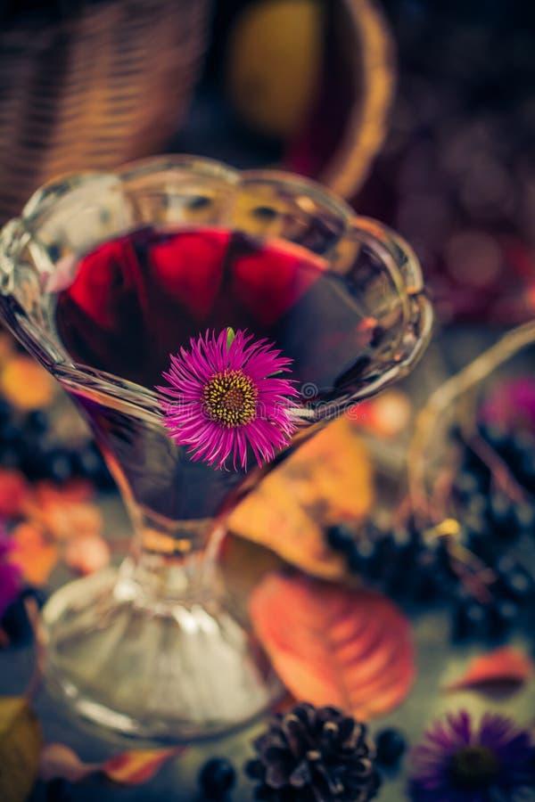 För kopptinktur för aromatisk alkohol chokeberry arkivfoton
