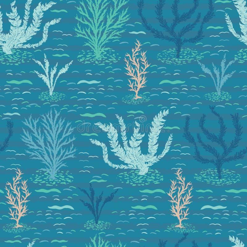 För korallrev för hand sömlös modell för utdragen sealife för hav Tropisk marin- vektorillustration Under bakgrunden för havsvatt stock illustrationer