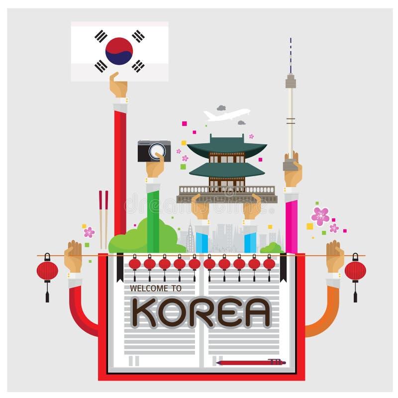 För Korea Seoul för vektorvälkomnandeuppsättning arm och hand lampa hemtrevlig stock illustrationer