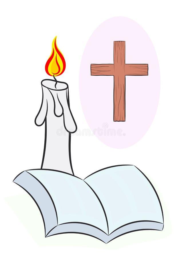 För korsstearinljus för helig bibel vektor för illustration vektor illustrationer