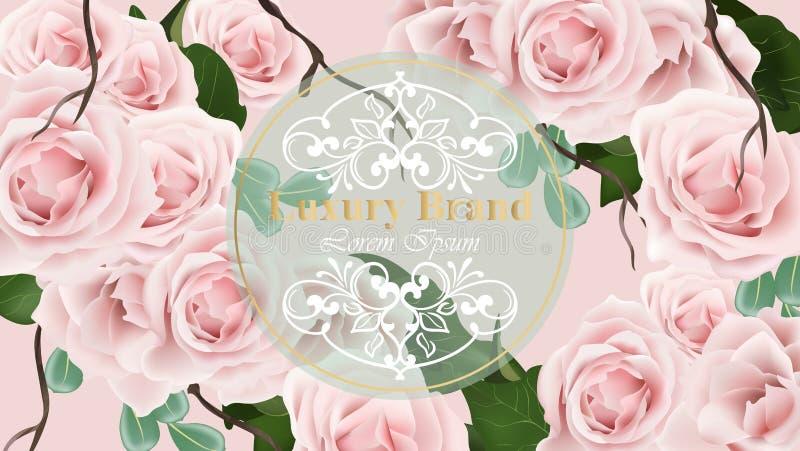 För kortbakgrund för rosor delikat illustration för vektor Blom- malldesigner stock illustrationer