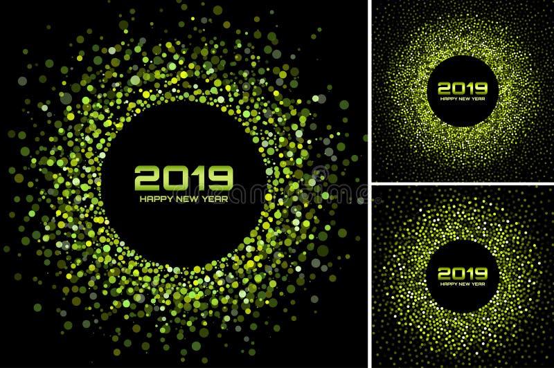 För kortbakgrunder för nytt år uppsättning 2019 Gräsplan blänker papperskonfettier Glittra gröna diskoljus Rund ram för glöd vektor illustrationer