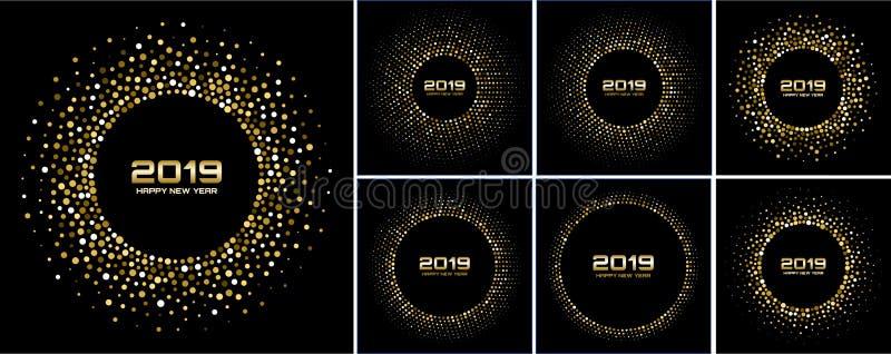 För kortbakgrunder för nytt år uppsättning 2019 Guld blänker papperskonfettier Glittra guld- diskoljus vektor illustrationer