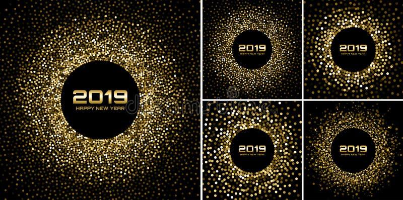 För kortbakgrunder för nytt år uppsättning 2019 Guld blänker papperskonfettier Glittra guld- diskoljus royaltyfri illustrationer