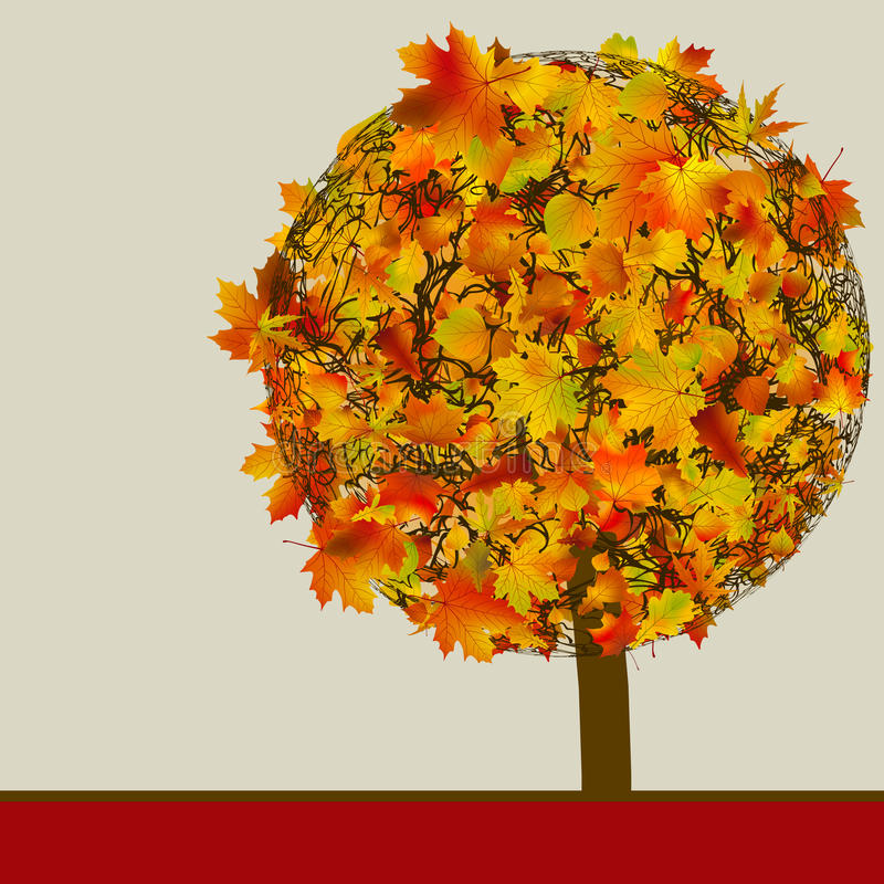 för kortbegrepp för 8 höst tree för mall för eps royaltyfri illustrationer