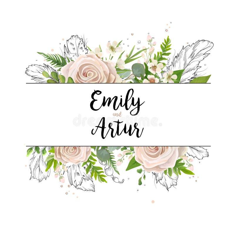 För kortkonst för vektor blom- design för kort för inbjudan för vattenfärg för bröllop stock illustrationer