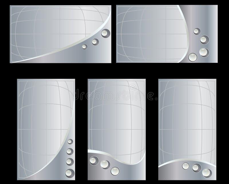 för kortset för affär 2 silver royaltyfri illustrationer