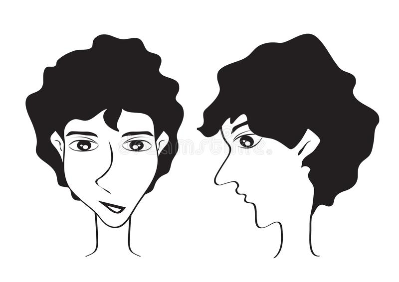 För kortslutningshår för ung man symbol för stil, manlig framsida, logoman, salongtecken, skönhet, brunnsort, Hipstertecknad film stock illustrationer