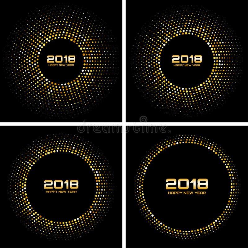 För kortvektor för lyckligt nytt år 2018 bakgrunder Uppsättning av ramar för cirkel för guld- ljusa diskoljus rastrerade royaltyfri illustrationer