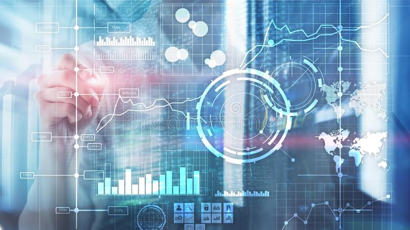 För KPI för indikator för nyckel- kapacitet för BI för affärsintelligens bakgrund för instrumentbräda analys genomskinlig suddig vektor illustrationer