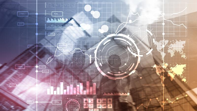 För KPI för indikator för nyckel- kapacitet för BI för affärsintelligens bakgrund för instrumentbräda analys genomskinlig suddig royaltyfri illustrationer