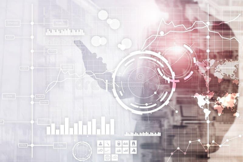 För KPI för indikator för nyckel- kapacitet för BI för affärsintelligens bakgrund för instrumentbräda analys genomskinlig suddig stock illustrationer