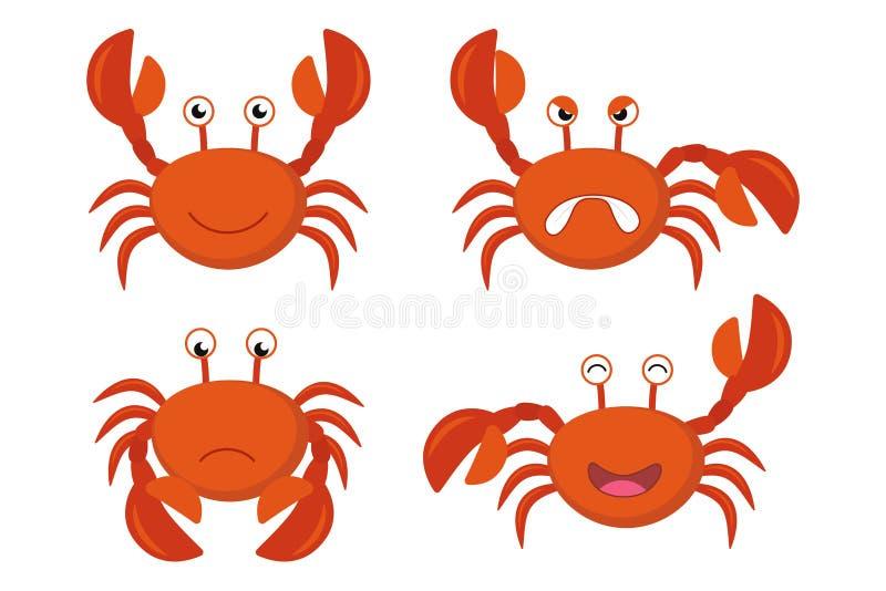 För krabbavektor för gullig tecknad film röd uppsättning stock illustrationer