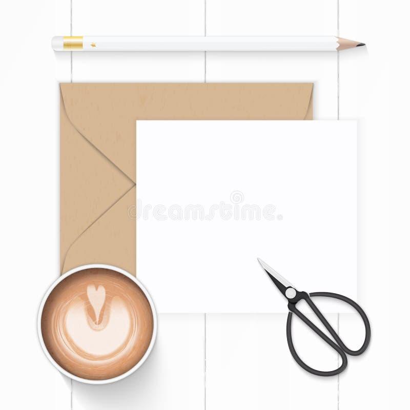 För kraft för plan lekmanna- sammansättning för bästa sikt elegant vit pappers- brun sax för tappning för kaffe och för metall fö stock illustrationer
