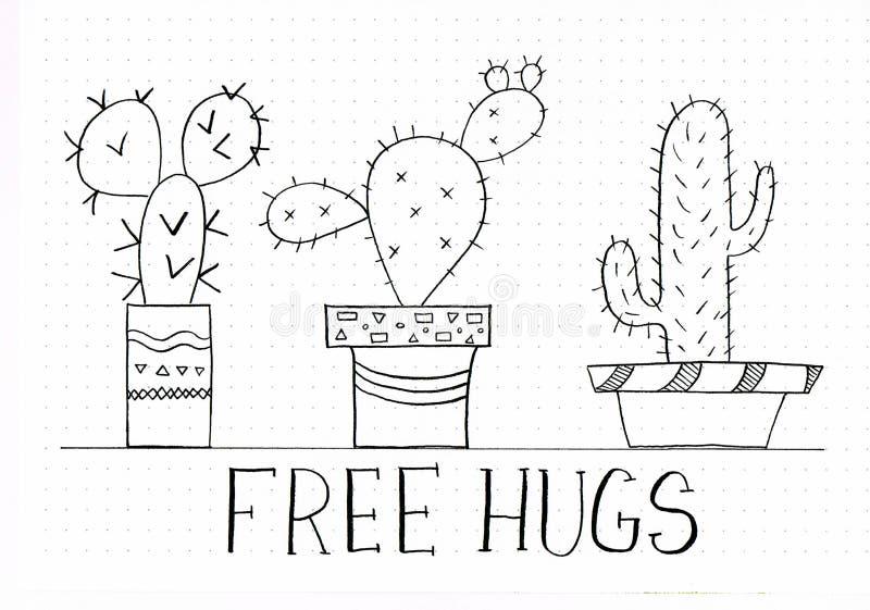 För kram` för ` fritt uttryck för bokstäver för hand med klotter av gulliga catuctuses i olika blomkrukor royaltyfri illustrationer