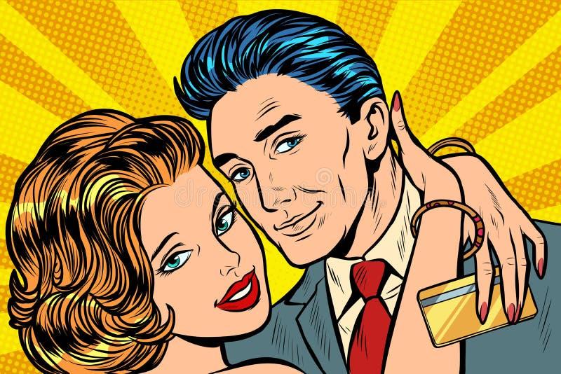 För kramkontokort för par förälskad gåva stock illustrationer