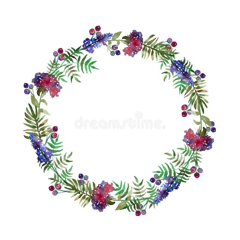 För kransbröllop för tappning blom- ram med det skogblommor och bladet greeting lyckligt nytt år för 2007 kort Hand-drog vattenfä stock illustrationer