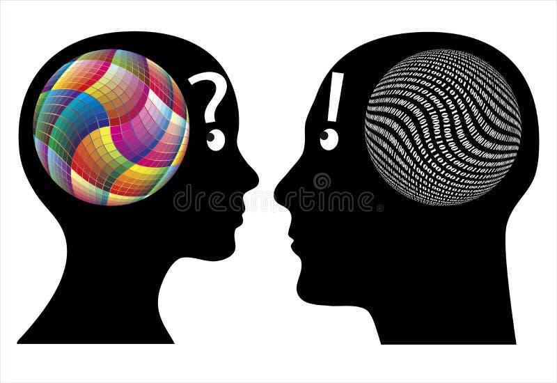 För kreativitet logik kontra royaltyfri illustrationer