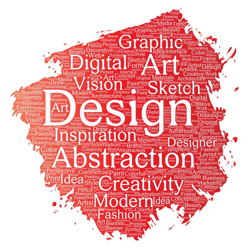 För kreativitetkonst för vektorn molnet för ordet för borsten för målarfärg för den begreppsmässiga grafiska designen för identit royaltyfri illustrationer