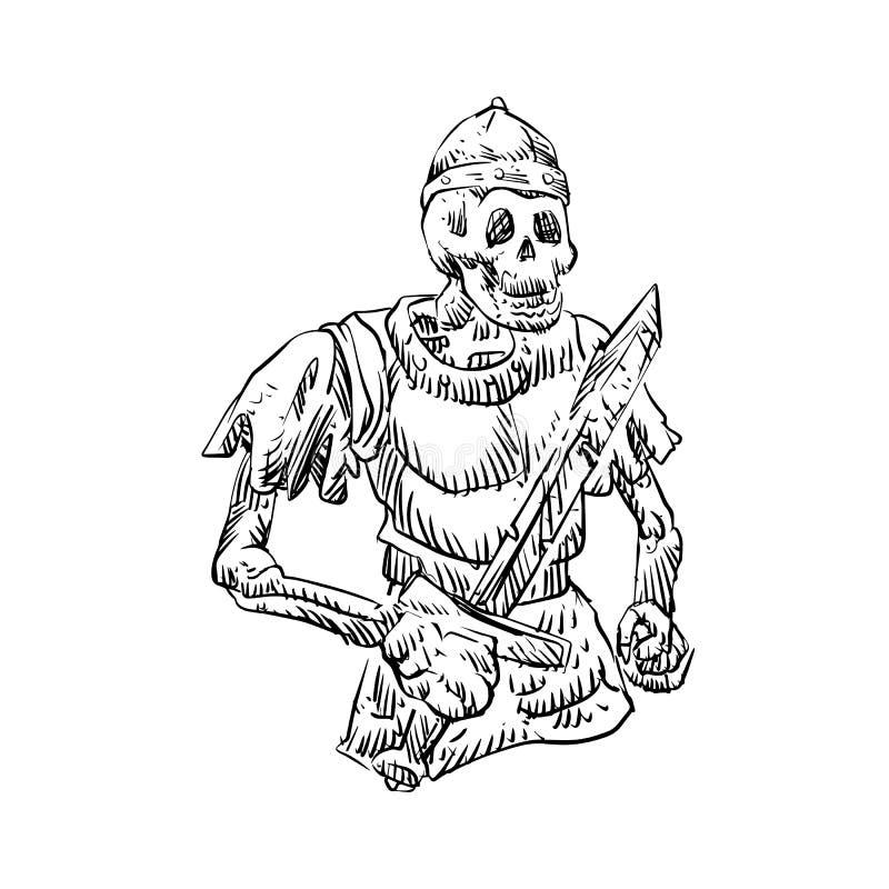 För krigareinnehav för död skelett- svärd vektor illustrationer