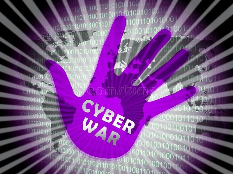 För krigdataintrång för Cyberwar 2d illustration för faktisk invasion royaltyfri illustrationer