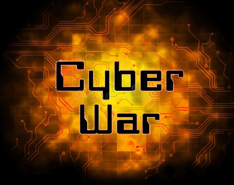 För krigdataintrång för Cyberwar 2d illustration för faktisk invasion vektor illustrationer