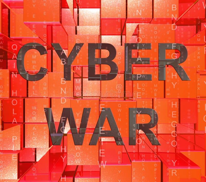 För krigdataintrång för Cyberwar faktisk illustration för invasion 3d royaltyfri illustrationer