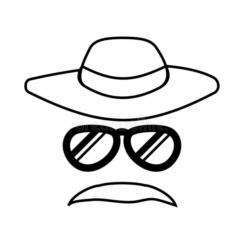 För kriminalare symbol inkognito, översiktsstil vektor illustrationer