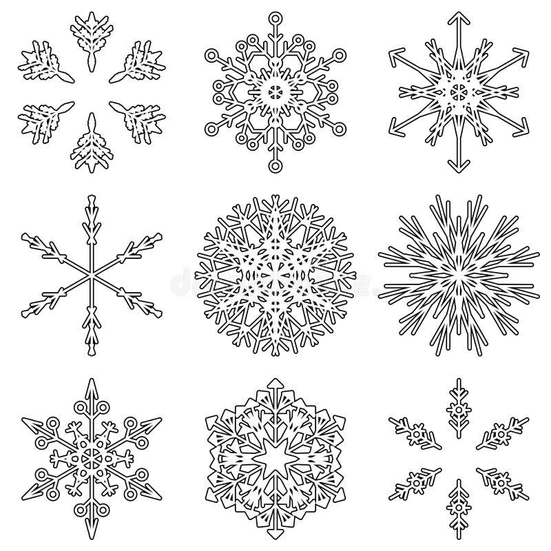 För kristallsnö för vektor abstrakta flingor royaltyfri illustrationer