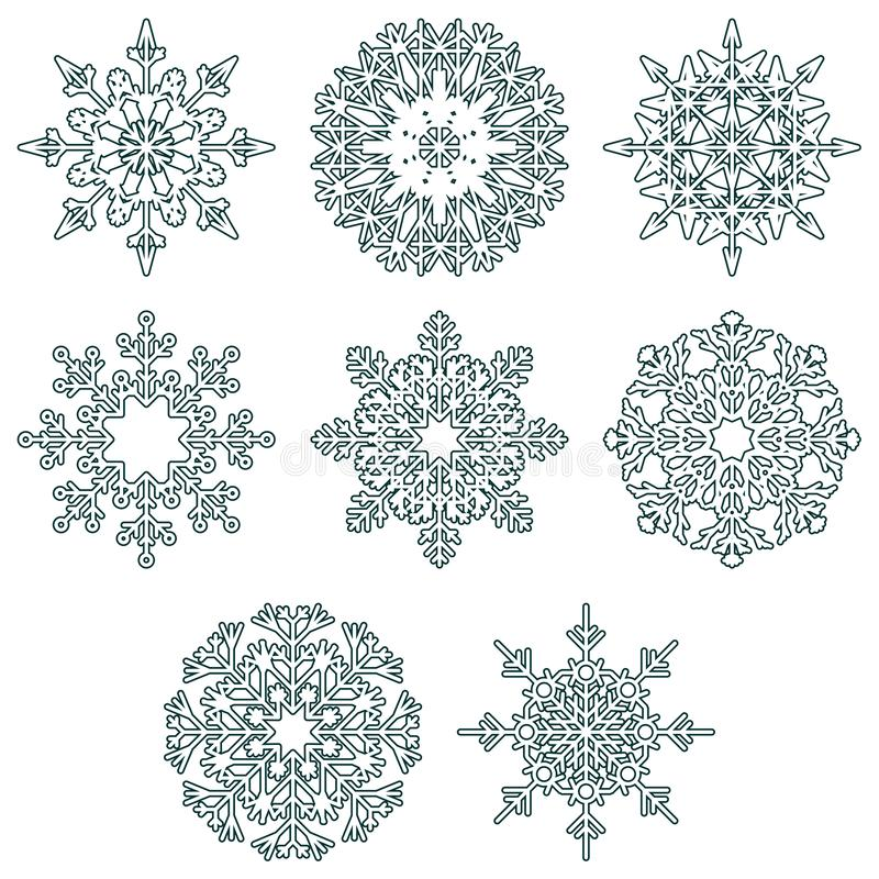 För kristallsnö för vektor iskalla flingor royaltyfri illustrationer