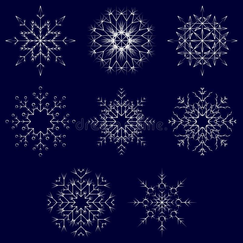 För kristallsnö för vektor konstnärliga iskalla abstrakta flingor royaltyfri illustrationer