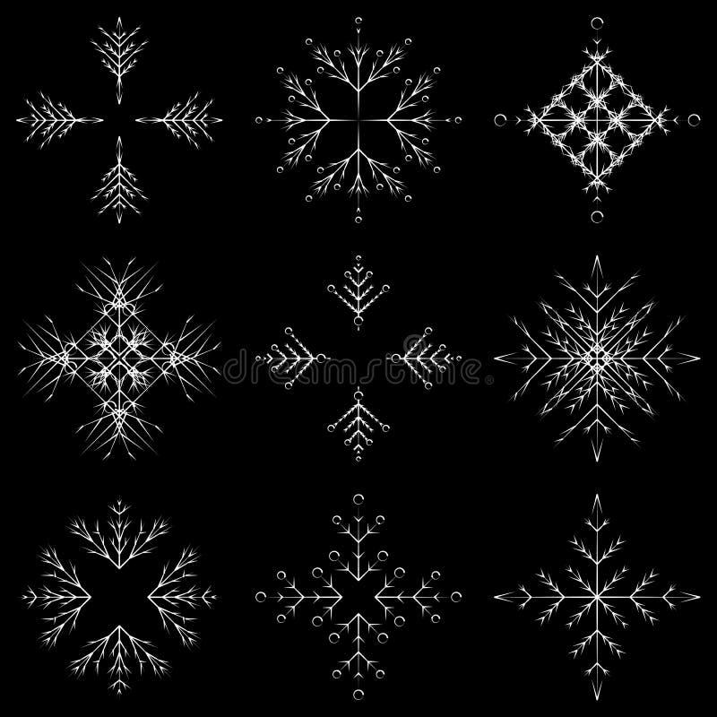 För kristallsnö för vektor konstnärliga iskalla abstrakta flingor stock illustrationer
