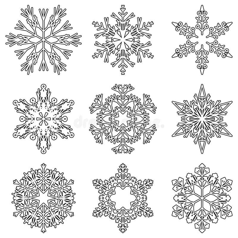 För kristallsnö för vektor konstnärliga iskalla flingor vektor illustrationer