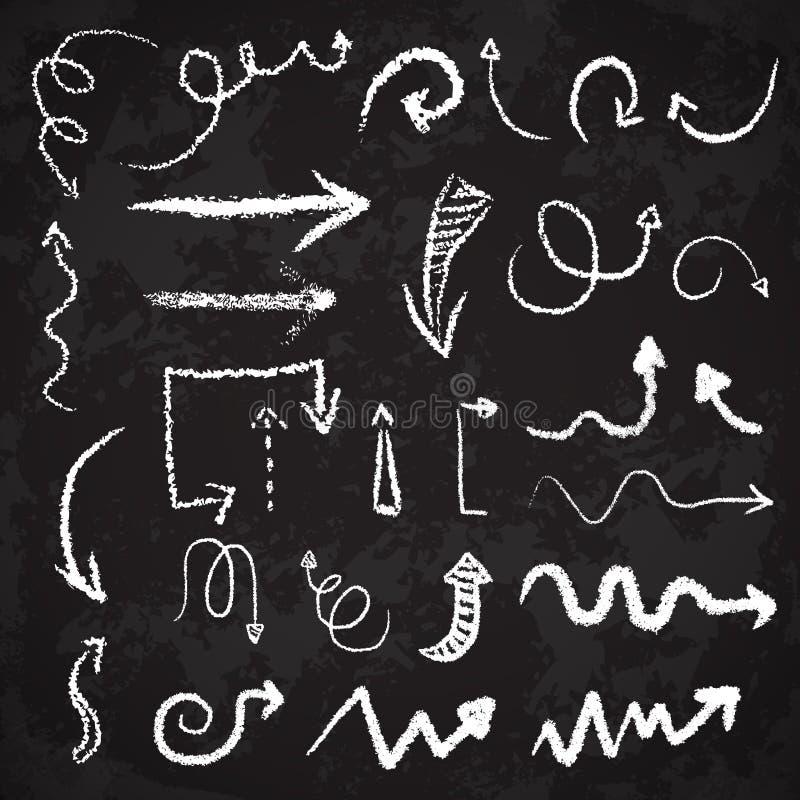 För kritapil för vektor hand dragen konstnärlig uppsättning i grungesätt f vektor illustrationer