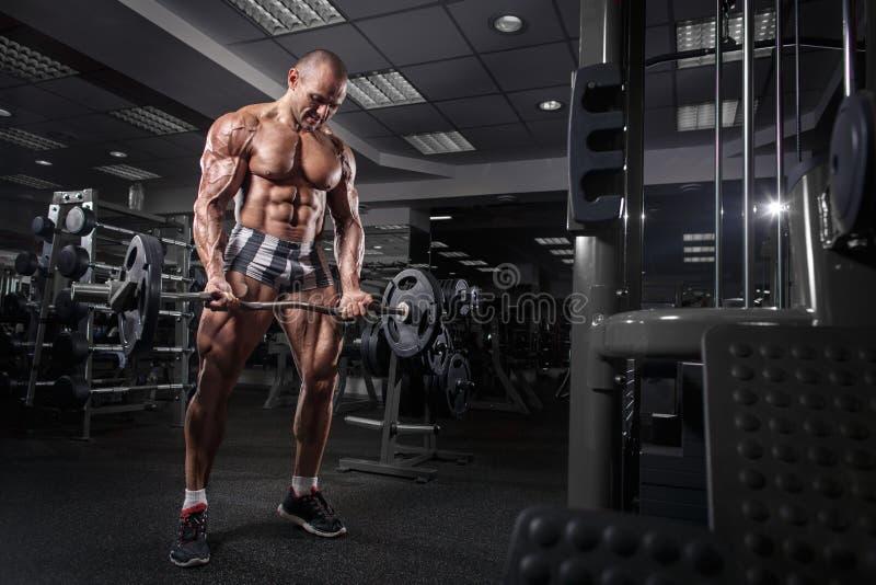 För kroppsbyggareutbildning för idrottsman nen muskulösa armar på simulatorn i idrottshallen royaltyfri bild