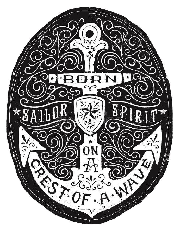 För krusidullankare för tappning hand dragit emblem royaltyfri illustrationer