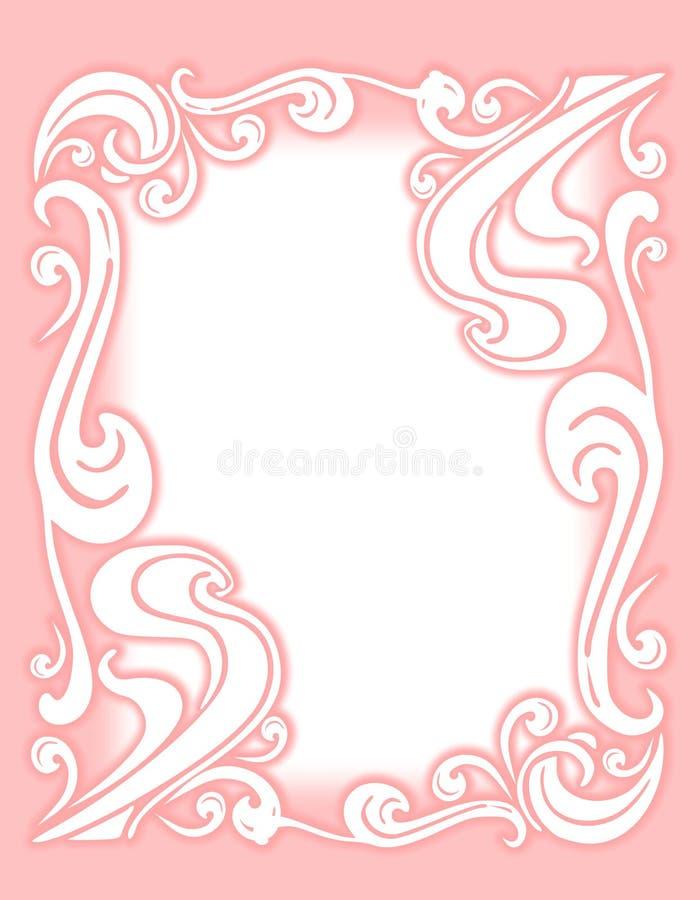 för krusidullram för kant dekorativ pink stock illustrationer