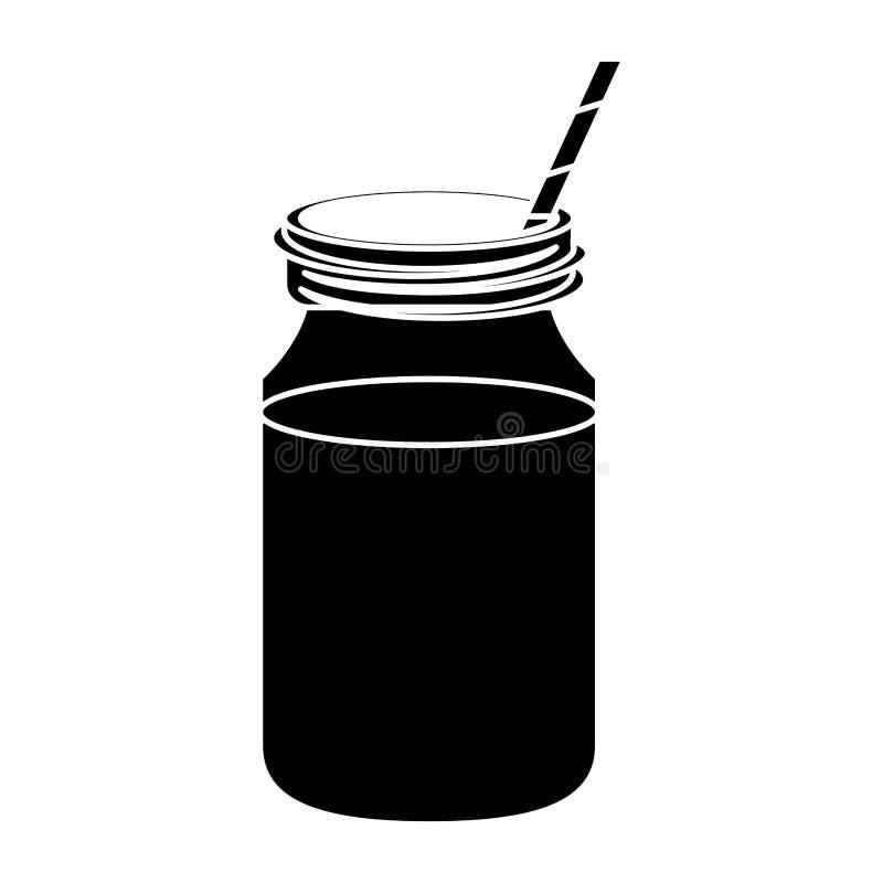 För krussugrör för kaffe glass pictogram för lock stock illustrationer
