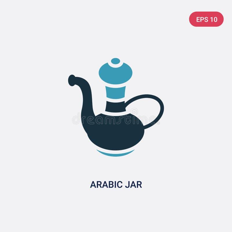 För krusvektor för två färg arabisk symbol från annat begrepp det isolerade blåa arabiska symbolet för krusvektortecknet kan vara royaltyfri illustrationer